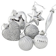 Sainsbury's Silver Assorted Baubles 24-pack