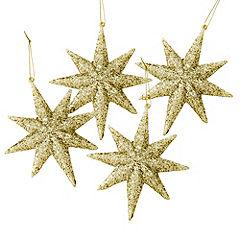 Sainsbury's Gold Glitter Stars Baubles 4-pack