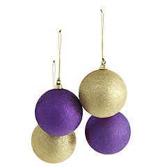Sainsbury's 80mm Glitter Gold and Purple Bauble 4-pack