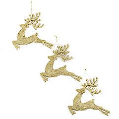 Sainsbury's Gold Reindeer Decoration 3-pack