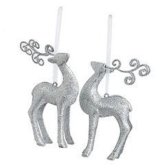 Sainsbury's Silver Reindeer Decoration 2-pack