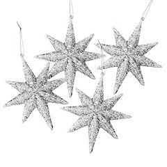 Sainsbury's Silver Glitter Stars Baubles 4-pack