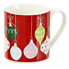 Tu Red Christmas Baubles Fine China Mug