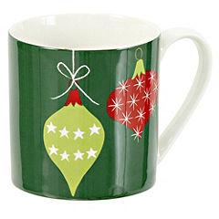 Tu Green Christmas Baubles Fine China Mug