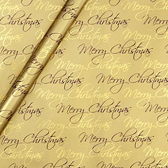 Sainsbury's Sustainably Sourced Gold Merry Christmas 4m Wrapping Paper