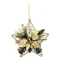 Sainsbury's Gold Poinsettia Wire Star