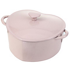 Cook's Collection Breakthrough Breast Cancer Pink 2.5L Cast Iron Heart Casserole Dish