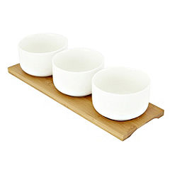 Tu Set of 3 Dip Bowls on Bamboo Base