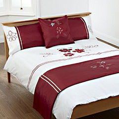 Tu Red and Mink Appliqué Floral Bed in a Bag - includes Duvet Cover Pillowcase Runner and Cushion Cover