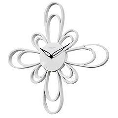 White Glossy Flower Wall Clock