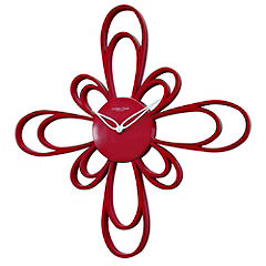 Red Glossy Flower Wall Clock
