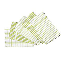 Sainsbury's Small Check Terry Green & White Towels 5-pack