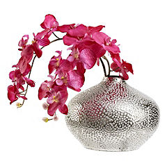 Tu Pink Orchid in Silver Ceramic Vase