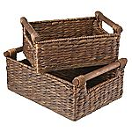 Tu Dark Water Hyacinth Basket & Wooden Handle Set of 2