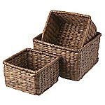 Tu Dark Water Hyacinth Baskets Set of 3