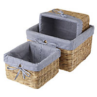 Tu Water Hyacinth Baskets With Coastal Liners 3-pack