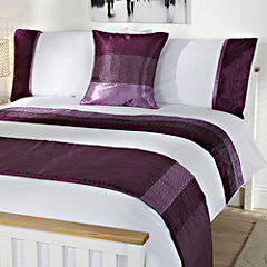 Tu Purple Crinkle Satin Panel Bed in a Bag - includes Duvet Cover Pillowcase Cushion Cover and Runner