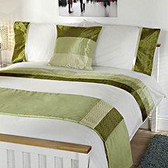 Tu Green Crinkle Satin Panel Bed in a Bag - includes Duvet Cover Pillowcase Cushion Cover and Runner