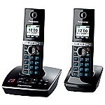 Panasonic TG8062 Twin Cordless DECT Phone Set with Answer Machine Black