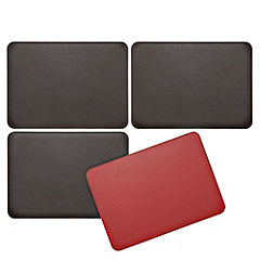 Tu Chocolate & Red Reversible Faux Leather Placemats 4-pack
