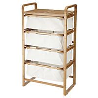 Tu Wide Bamboo and Canvas 4-drawer Storage Unit