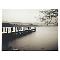 Black and White Water Jetty Wall Art 77x57cm