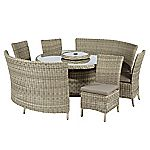 Modena Rattan Round Table Set with 2 Fan Benches and 4 Side Chairs with Cushions