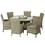Modena Rattan Round Table Set and 4 Side Chairs with Cushions