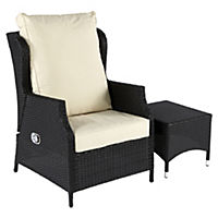 Cannes Recliner Wing Chair with Coffee Table Furniture Set