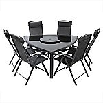 Glass and Aluminium Triangular Table with 6 Chairs Furniture Set