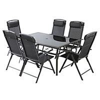 Glass and Aluminium Table with 6 Chairs Furniture Set