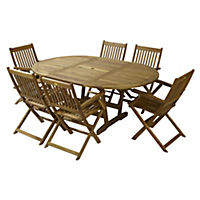 Turnbury Acacia Extension Table with 6 Manhattan Armchairs Furniture Set