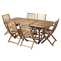 Buckingham Hardwood Rectangular Extension Table with 6 Sienna Folding Armchairs Furniture Set