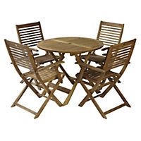 Manhattan Acacia Folding Table with 4 New York Armchairs Furniture Set