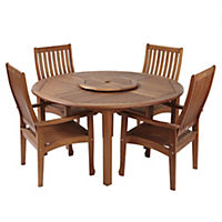 Torino Acacia Table with Lazy Susan and 4 High-back Armchairs Furniture Set