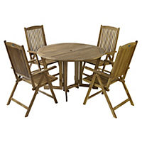 Henley Acacia Gate-leg Table with 4 Camelot Recliner Chairs Furniture Set