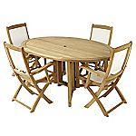 Wentworth Teak Ellipse Table with 4 St Tropez Textilene Armchairs Furniture Set