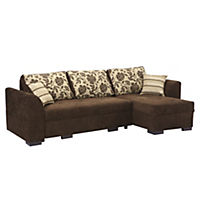 Natalie Right-hand Chocolate Corner Group with Sofabed and Storage