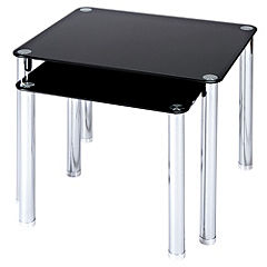 LEVV Regent Black Glass Nest of Tables