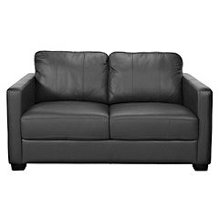 Lessina Regular Black Leather Sofa