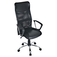 LEVV Harvard Black Faux Leather Office Chair