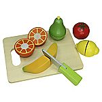 Pretend & Play Wooden Chopping Board and Fruit Set