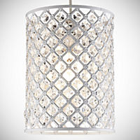 Tu Luella White Beaded Cylinder Shade