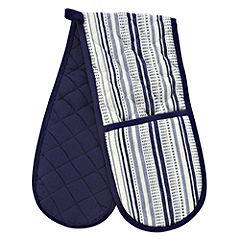 Sainsbury's Blue Stripe Woven Double Oven Glove