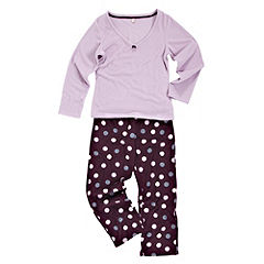 Tu Ribbon-tied Long Sleeve Spotty Fleece PJ