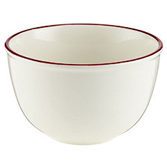Sainsbury's  Cream and Red Ceramic Pudding Bowl