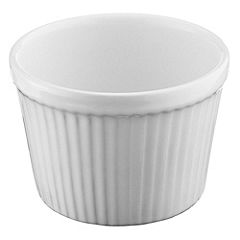 Sainsbury's Medium White Ribbed Stoneware Soufflé Dish