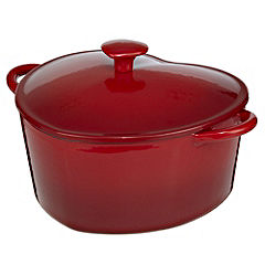 Cook's Collection Red Heart Cast Iron 2.5L Casserole Dish