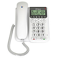 BT Decor 2500 White Corded Landline Phone with Answering Machine