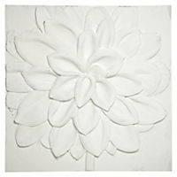 White Resin Floral Canvas Wall Art 60x60cm